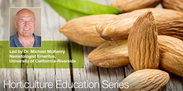 Minimizing Nematode Impact in Almonds Webinar Cove Slide Featuring Raw Almonds Image